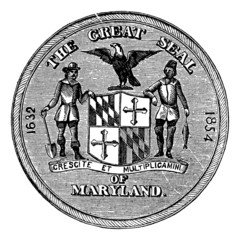 Great Seal of the State of Maryland, United States, vintage engr