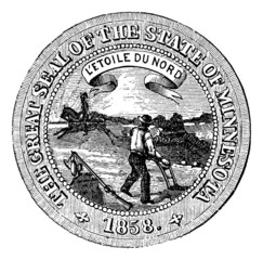 Seal of the State of Minnesota, vintage engraving.