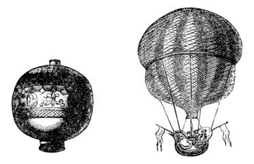 First balloon or Hot air balloon, vintage engraving