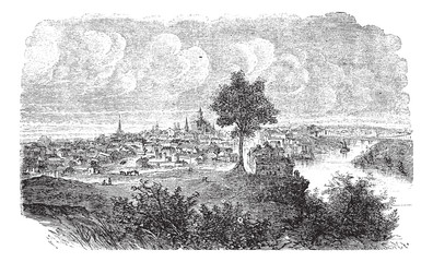 Nashville in Tennessee, USA, vintage engraved illustration