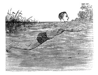 Breaststroke, Fifth Position, vintage engraved illustration