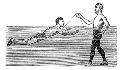 Learning to Swim with the Aid of a Rope, vintage engraved illust