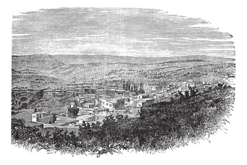 Nazareth in North District, Israel, vintage engraved illustratio