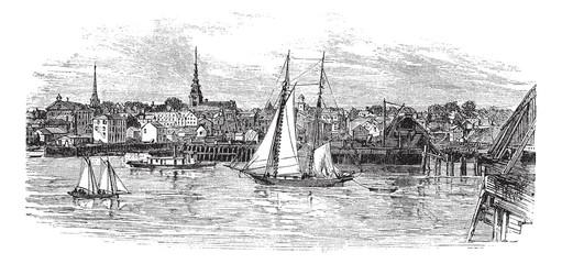 Newburyport in Massachusetts, USA, vintage engraved illustration
