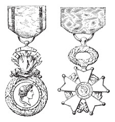 Military Medal, Cross of the Legion of Honor, vintage engraving