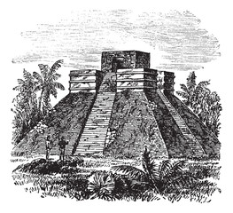 Palenque Pyramid temple in Mexico vintage engraving
