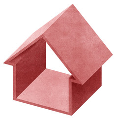 House 3D recycled papercraft on white background