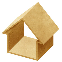 House 3D icon recycled papercraft on white background