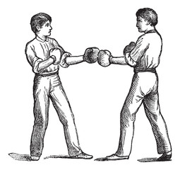 Two boxers in a fighting postion vintage engraving