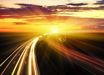 Fotobehang Nacht snelweg Sunset On The Highway.