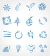 Icon gezeichnet set