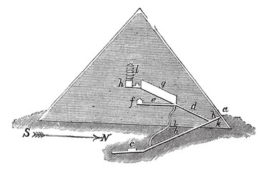 Section of the Great Pyramid, vintage engraving.