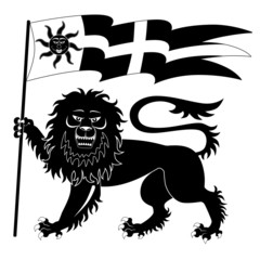 Heraldic lion with banner