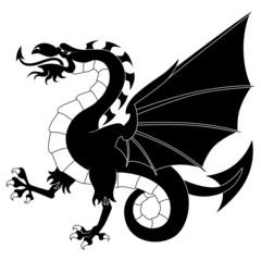 Silhouette of standing heraldic dragon