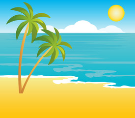 Beach with palm trees. vecto