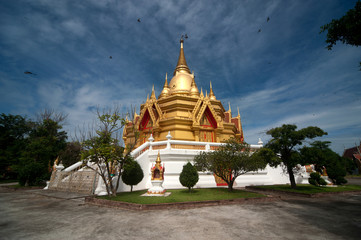 Golden pagoda in temple.