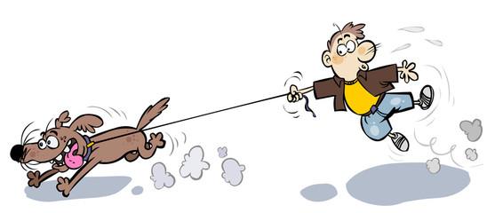 Funny cartoon Boy walking the Dog.