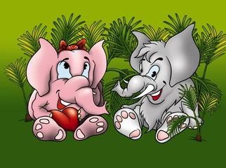 Two Elephants - Cartoon Background Illustration