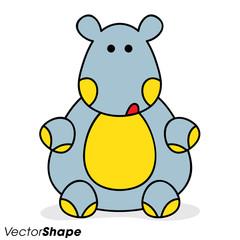 Funny cartoon hippo sitting on a floor
