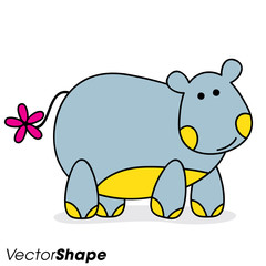 Funny cartoon hippo standing on a white background