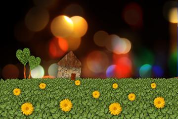 rural landscape with house, illustration