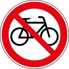 Fototapete - Verbotsschild Fahrräder verboten Zeichen Schild Symbol