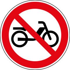 Fototapete - Verbotsschild Mofa - Motorfahrrad  verboten Zeichen Schild
