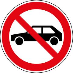 Fototapete - Verbotsschild Autos verboten Zeichen Symbol Schild