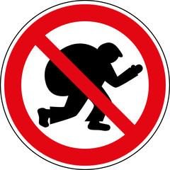 Verbotsschild Dieb Einbrecher Verbotszeichen Symbol - fototapety na wymiar