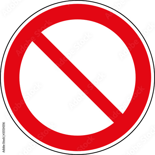 Verbotsschild allgemein Schild Zeichen Vorlage Muster\