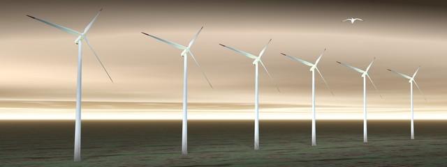 Wind turbines in cloudy nature