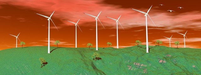 Wind turbines in nature by sunset