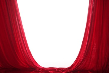 red curtains with free white space