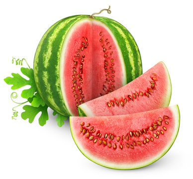 Isolated watermelon. Cut watermelon fruit with leaf isolated on white background