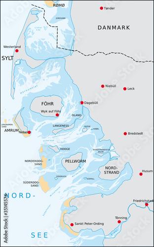 Nordfriesische Inseln Karte.Nordfriesische Inseln Stock Image And Royalty Free Vector