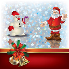 Christmas greeting with Santa Claus and gift ribbons