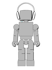 Block Figure With Headphones