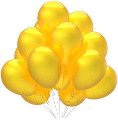 Birthday balloons party decoration colored sunny yellow