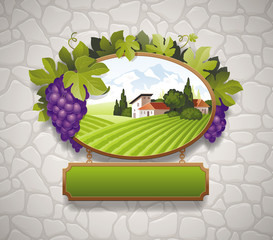 Vintage signboard with grapes and image of country landscape