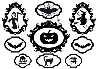 halloween set with frames, vector