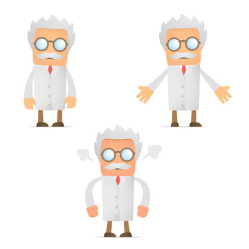 funny cartoon scientist angry and frustrated