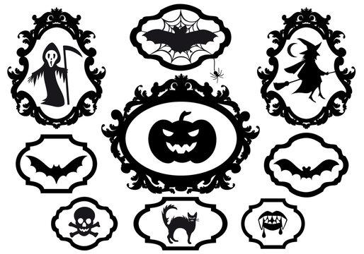 halloween set with frames, vector