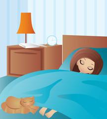Woman cartoon sleeps. vector