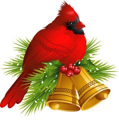 Cardinal Bird with Christmas bells