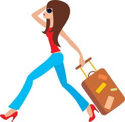 Young woman runs with a suitcase. vector