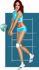 Brunette playing volley