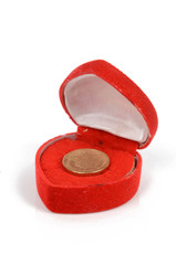 Coin in gift box
