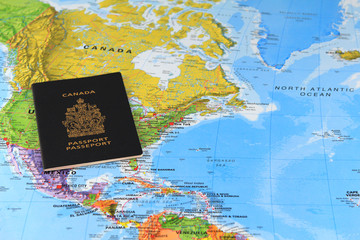 Canadian passport on the map of Canada
