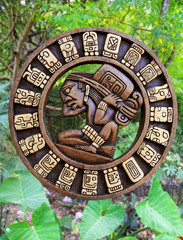 Calendar Mayan culture wooden on Mexico jungle