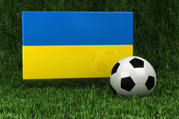 Ukraine Soccer - flag of the Ukraine with soccer ball